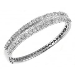 18ct white gold 7.86ct baguette & round diamond bangle.