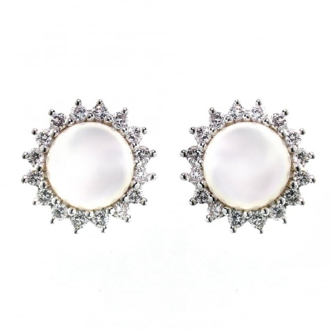 Matt Aminoff Pearls 18ct white gold 7mm Akoya pearl 0.40ct diamond cluster earrings