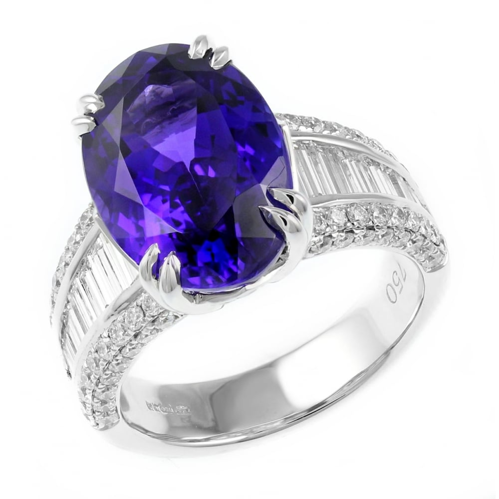 carat white ring tanzanite diamond gold and