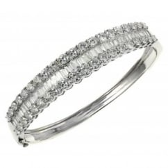 18ct white gold 9.03ct baguette & round diamond bangle.