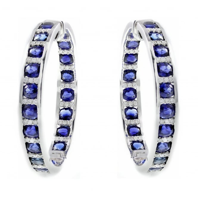 18ct white gold 9.79ct sapphire & 0.64ct diamond hoop earrings.