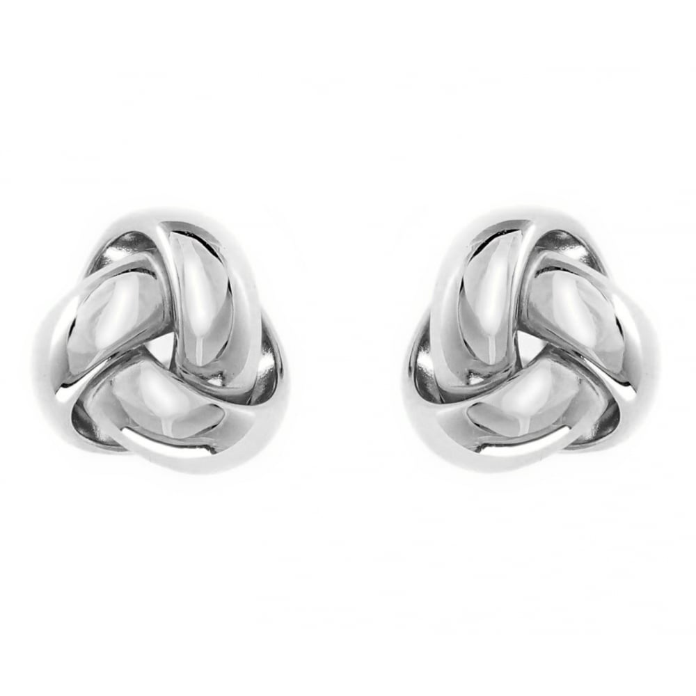 18ct White Gold 9mm Knot Stud Earrings Jewellery From Mr Harold