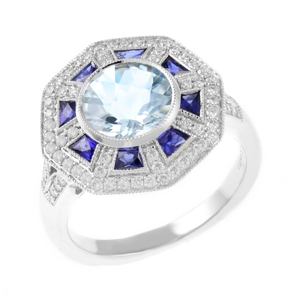 deco white and sapphire jewellery ring gold art aquamarine image style
