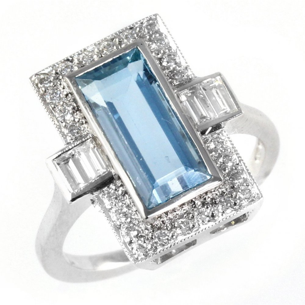 18ct white gold art deco style emerald cut aqua & diamond ring