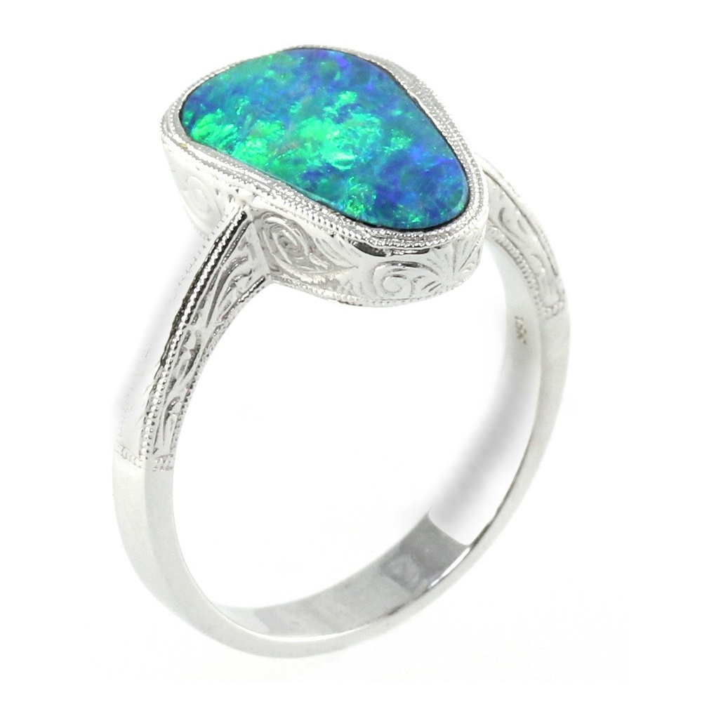 18ct white gold australian opal ring Collections from Mr Harold