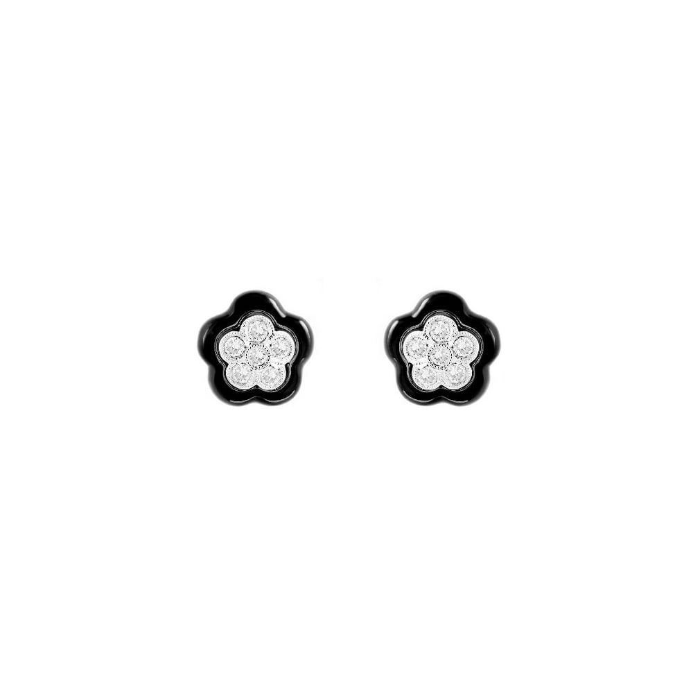 473c16887 18ct white gold black onyx & 0.56ct diamond cluster earrings - Jewellery  from Mr Harold and Son UK
