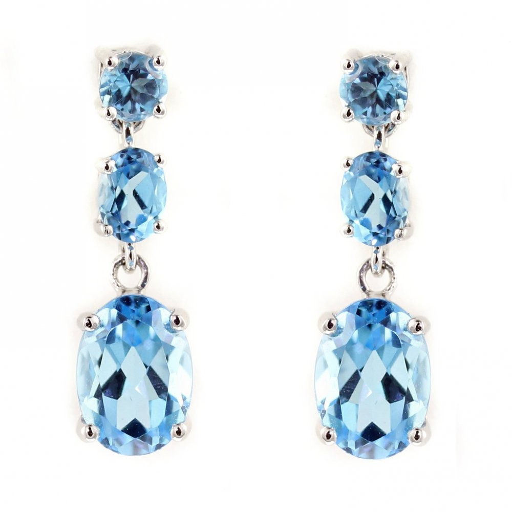18ct White Gold Blue Topaz 3 Stone Drop Earrings