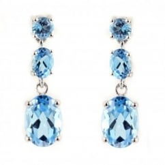 18ct white gold blue topaz 3 stone drop earrings.