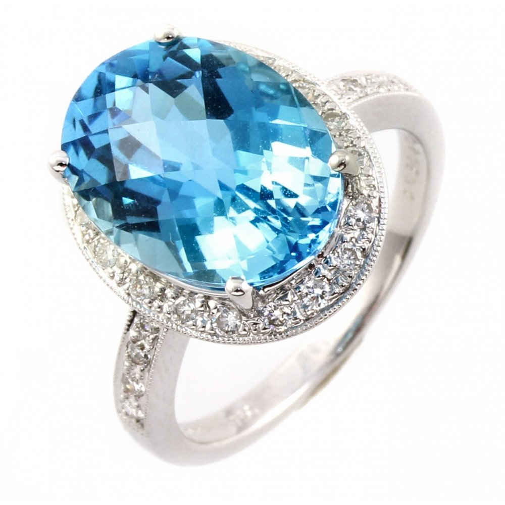 gold stone oval blue ml ring diamond topaz ladies london newburysonline