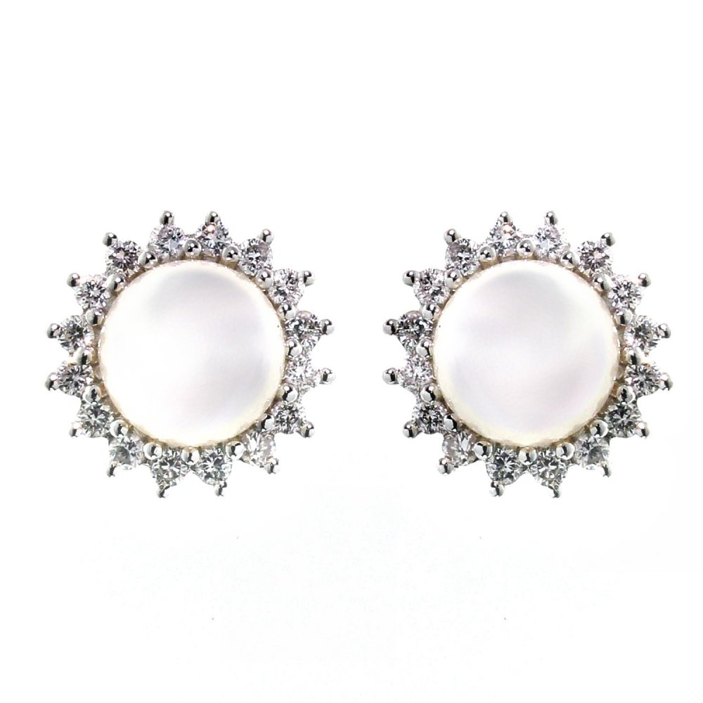 18ct White Gold Cultured Pearl & Diamond Stud Earrings