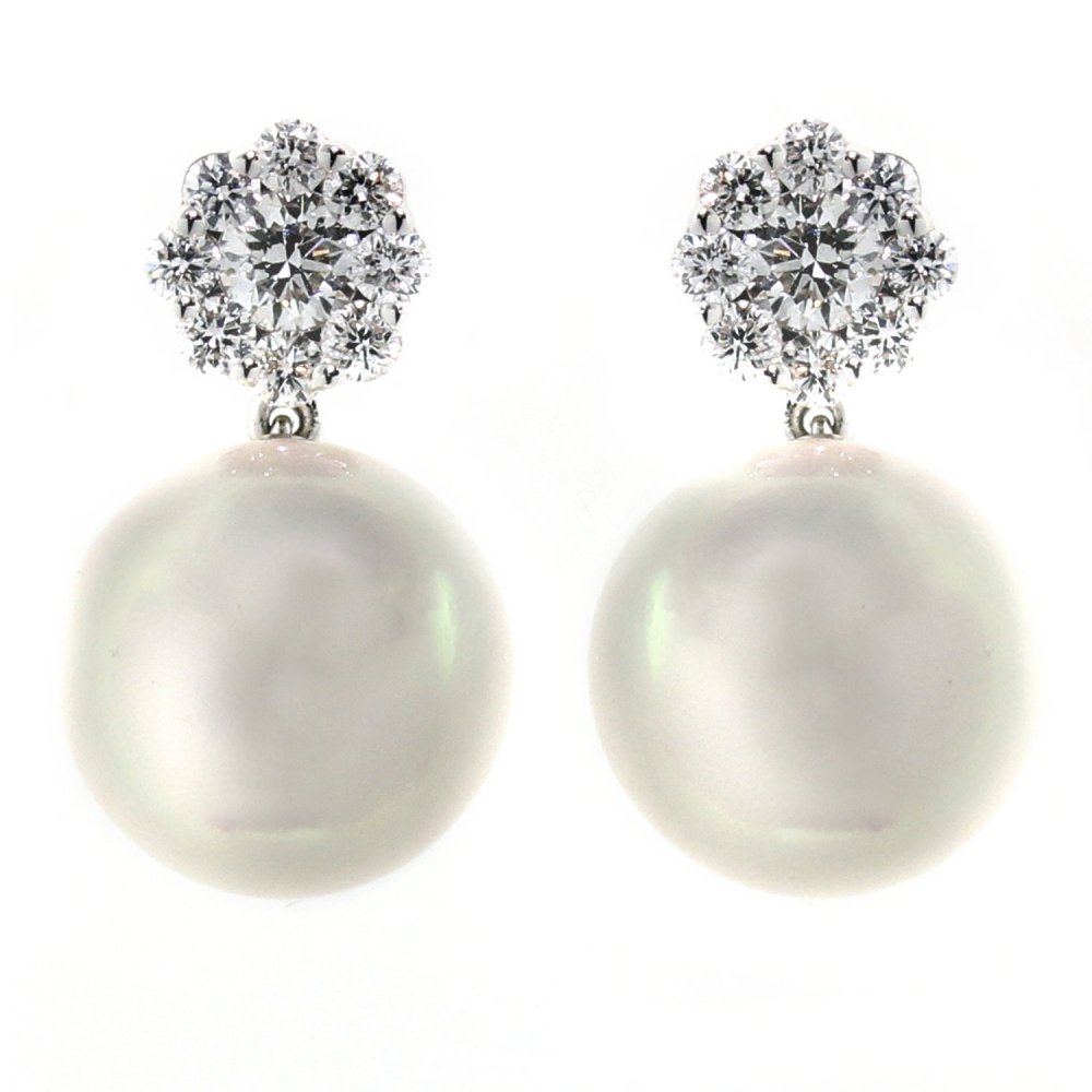 18ct White Gold Detachable Diamond Cer Pearl Earrings