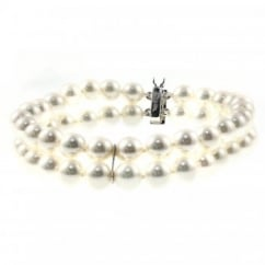 18ct white gold double row 6.5x7mm pearl bracelet.