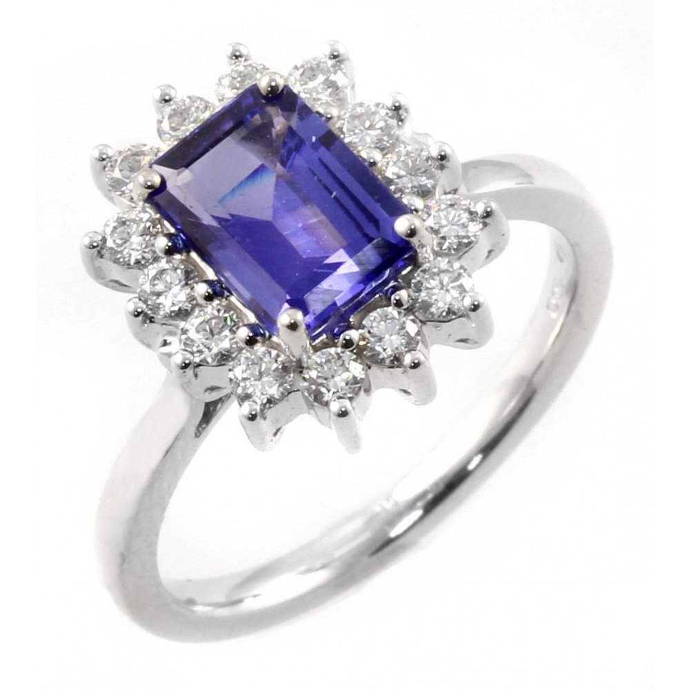 cluster tanzanite precious amp cut jewellery white gold diamond image engagement ring rings emerald