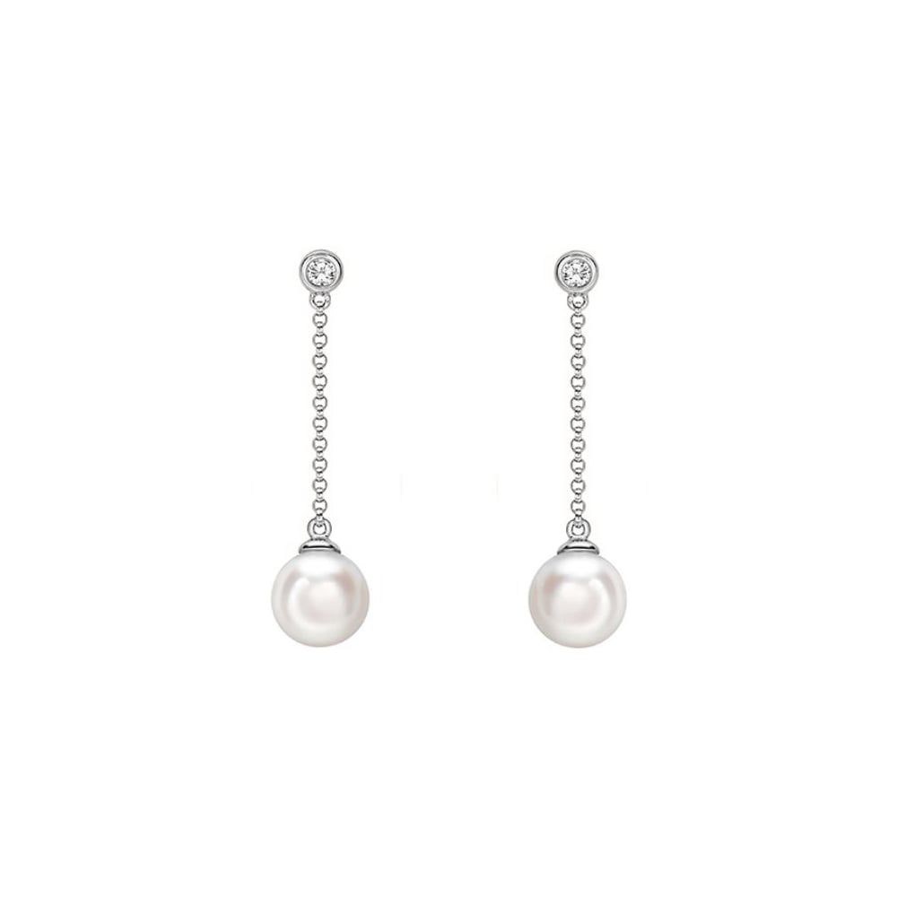 18ct White Gold Anese Akoya Pearl 0 06ct Diamond Earrings