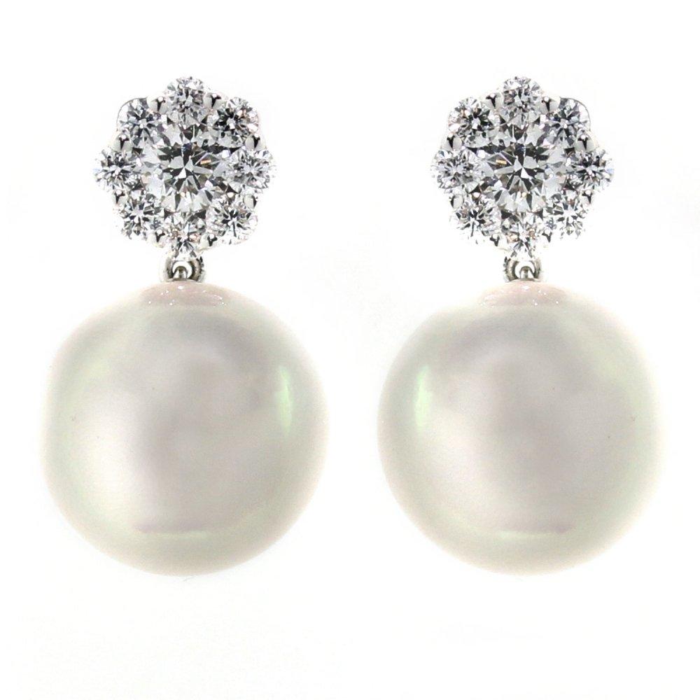 18ct White Gold Anese Akoya Pearl 0 49ct Diamond Earrings