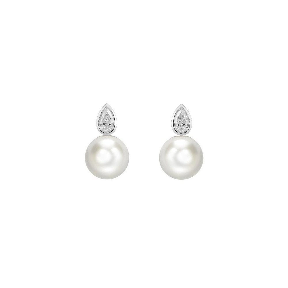 18ct White Gold Anese Akoya Pearl 0 55ct Diamond Earrings
