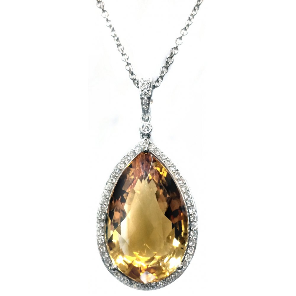 by shape image diamond gold pendant surrounded loading is carat itm big round pear diamonds s