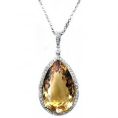 18ct white gold large pear citrine & diamond pendant.