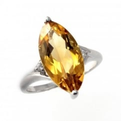 18ct white gold marquise cut citrine & diamond ring.