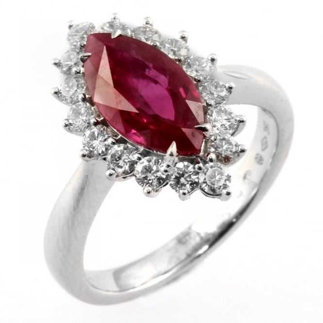 18ct white gold marquise ruby & diamond cluster ring.