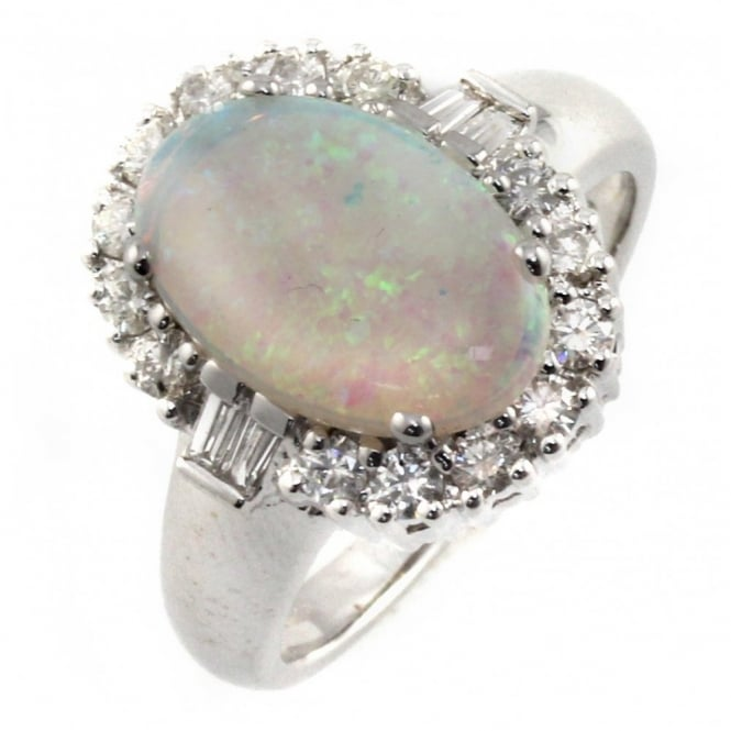 18ct white gold opal & diamond cluster ring.