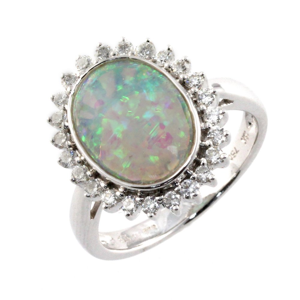 18ct White Gold Opal & Diamond Cluster Ring