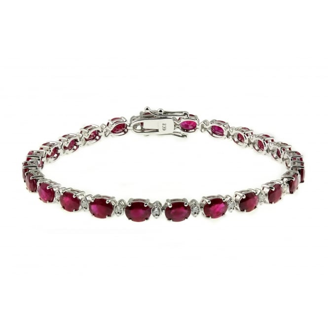 18ct white gold oval 11.55ct oval ruby & 0.40ct diamond bracelet