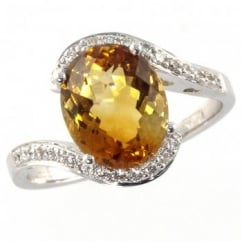 18ct white gold oval citrine ring with diamond twist.