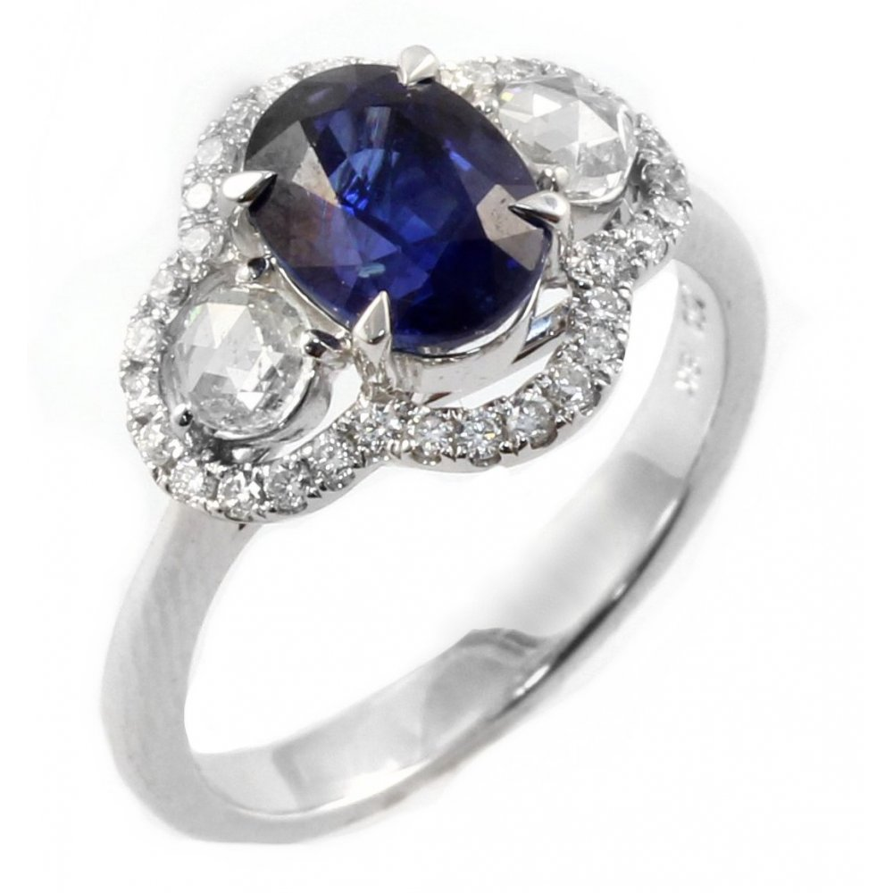 18ct white gold oval sapphire 3 ring