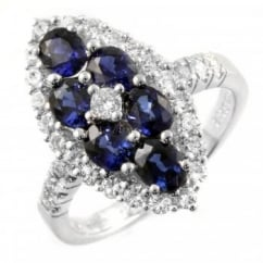 18ct white gold oval sapphire & diamond marquise cluster ring.