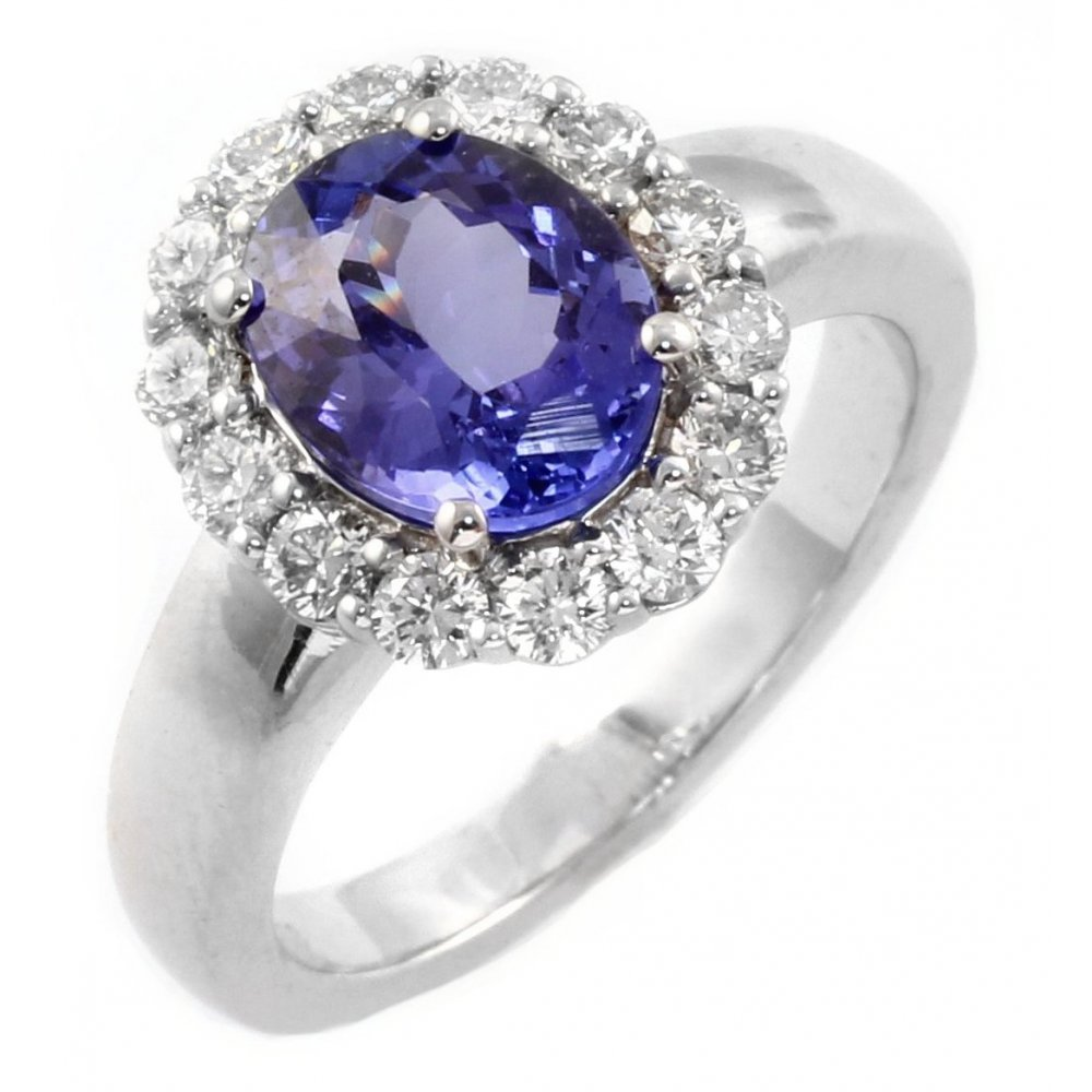 rings engagement diamond shaped white brilliant cut and tanzanite ring gold