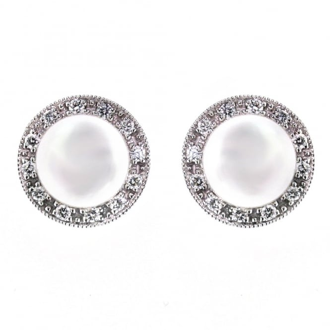 Matt Aminoff Pearls 18ct white gold pearl & 0.17ct diamond stud earrings.