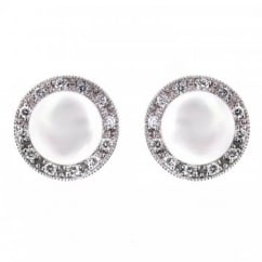 18ct white gold pearl & 0.17ct diamond stud earrings.