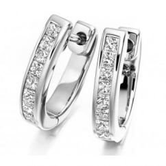 18ct white gold princess cut channel set diamond hoop earrings.