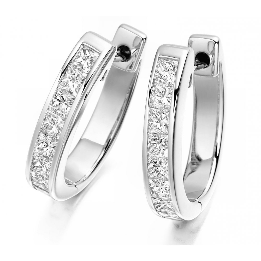18ct White Gold Princess Cut Diamond Channel Set Hoop Earrings