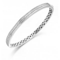 18ct white gold princess cut diamond double row channel bangle.
