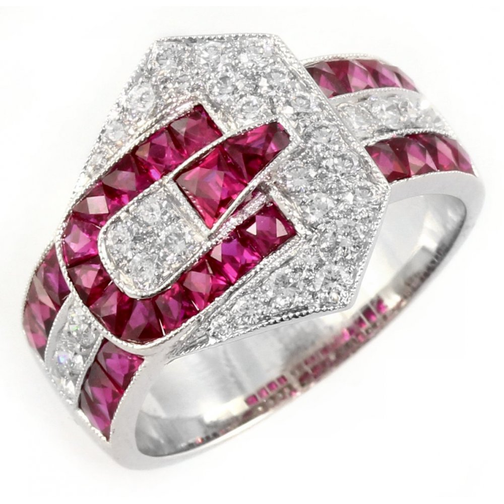 18ct White Gold Ruby Diamond Fancy Buckle Design Ring