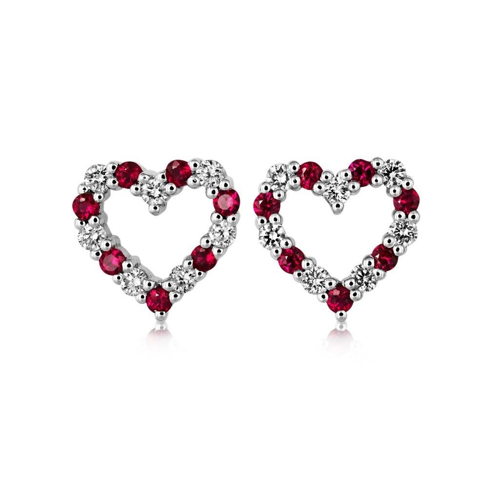 18ct White Gold Ruby Diamond Heart Shaped Earrings