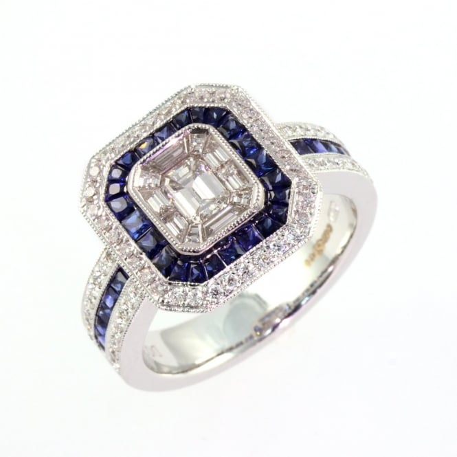 18ct white gold sapphire & diamond octagonal invisible set ring.