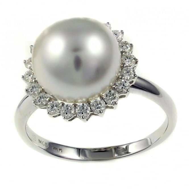18ct white gold south sea pearl & diamond cluster ring.