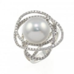 18ct white gold south sea pearl & diamond large cluster ring.