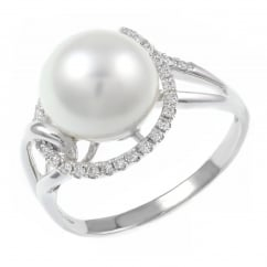 18ct white gold South Sea pearl & diamond swirl ring.