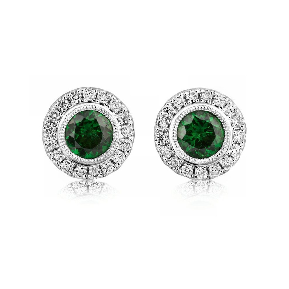 18ct White Gold Tsavorite Green Garnet Diamond Stud Earrings