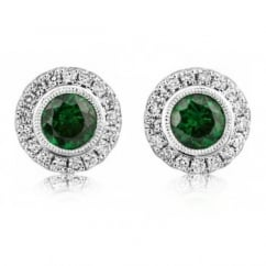 18ct white gold tsavorite green garnet & diamond stud earrings.