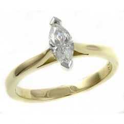 18ct yellow 0.50ct D SI1 GIA marquise diamond solitaire ring.