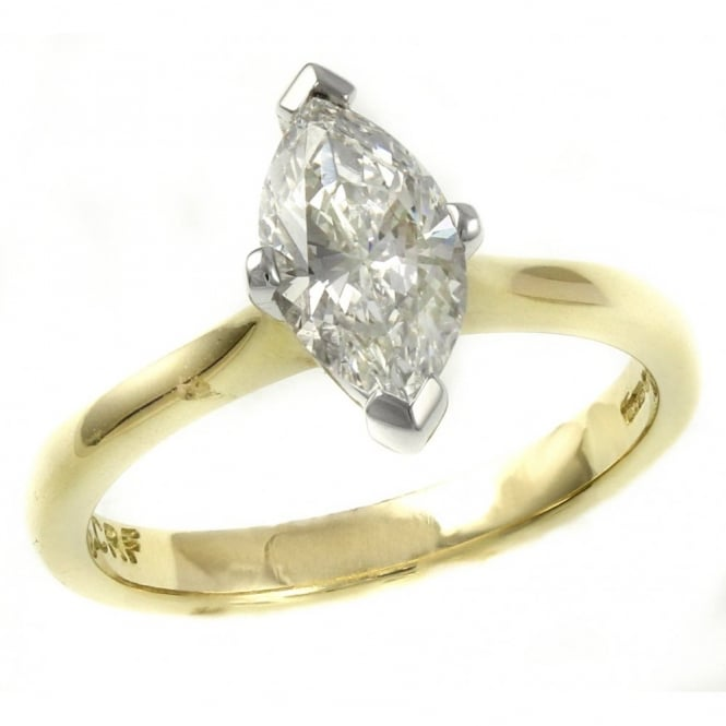 18ct yellow 1.10ct F VS1 GIA marquise cut diamond solitaire rin