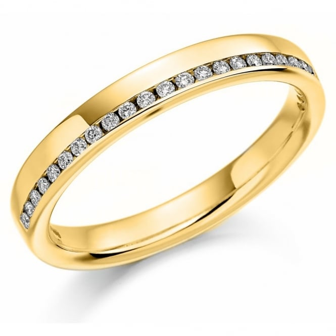 The Raphael Collection 18ct yellow gold 0.12ct diamond offest channel eternity ring.