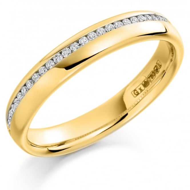 The Raphael Collection 18ct yellow gold 0.15ct diamond offest channel eternity ring.