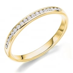 18ct yellow gold 0.15ct round brill diamond half eternity ring.