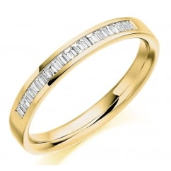 18ct yellow gold 0.20ct baguette cut diamond half eternity ring.